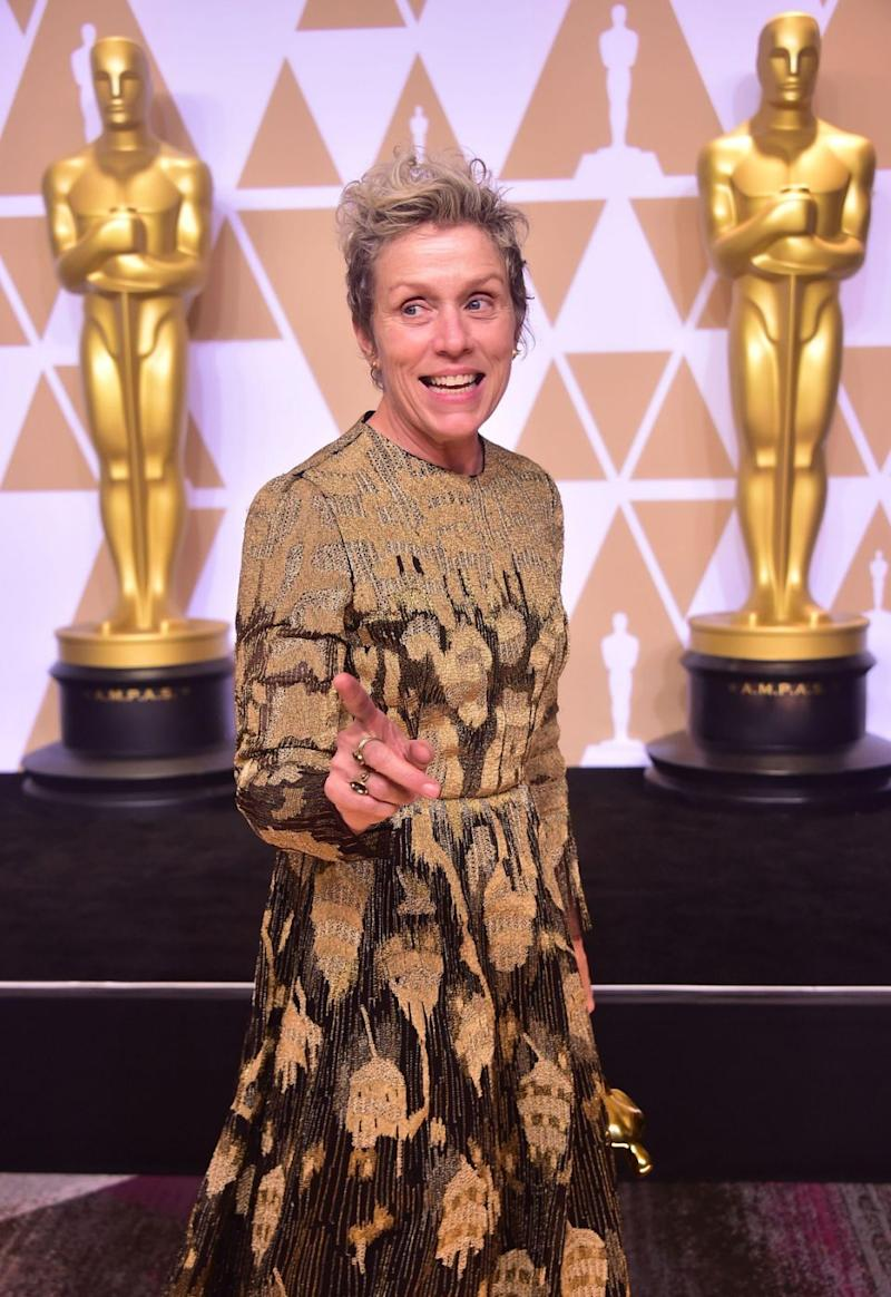 Frances McDormand poses in the press room with the Oscar for Best Actress during the 90th Annual Academy Awards. Source: Getty Images