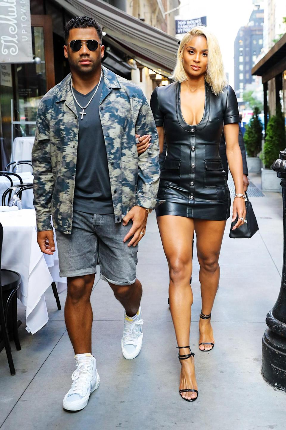 <p>Ciara and Russell Wilson walk arm-in-arm to dinner while out in N.Y.C. on June 30.</p>