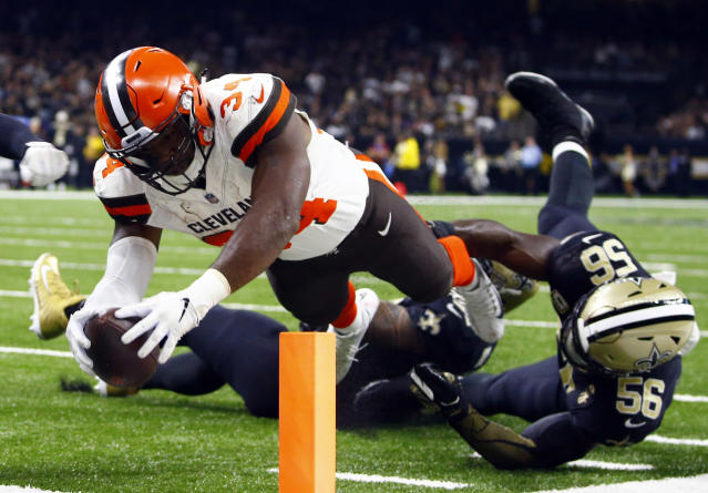 Cleveland Browns running back Carlos Hyde (34) scores a touchdown against the Saints, but the Browns ultimately lost, again. (AP)