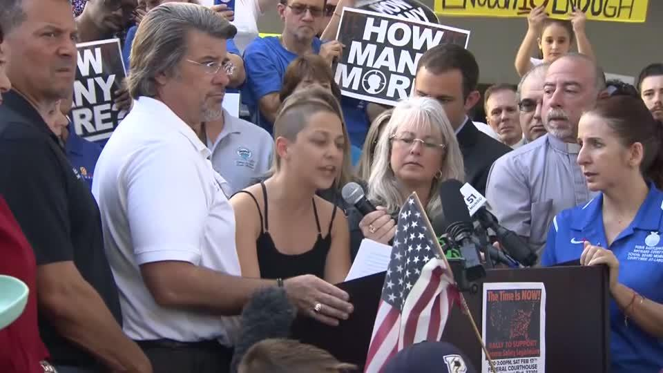 Florida shooting survivor Emma Gonzalez called for tougher gun laws during a rally in Fort Lauderdale, saying 'to every politician who is taking donations from the NRA, shame on you.' Rough Cut (no reporter narration).