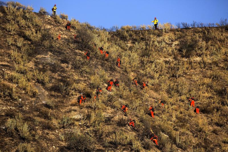 Hand crews work on the remaining hot spots from the Apple Fire near Banning, Calif., Sunday, Aug. 2, 2020. (AP Photo/Ringo H.W. Chiu)