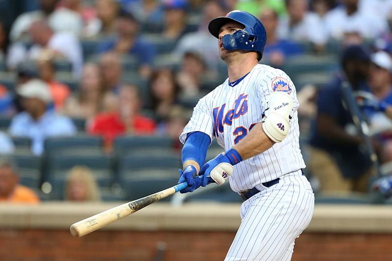 NEW YORK, NEW YORK - JUNE 15: Pete Alonso #20 of the New York Mets hits a three-run home run to left field in the first inning against the St. Louis Cardinals at Citi Field on June 15, 2019 in New York City. (Photo by Mike Stobe/Getty Images)