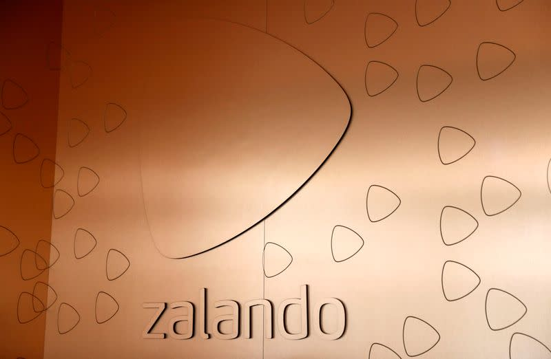 FILE PHOTO: The logo of fashion retailer Zalando is pictured in an office building in Berlin
