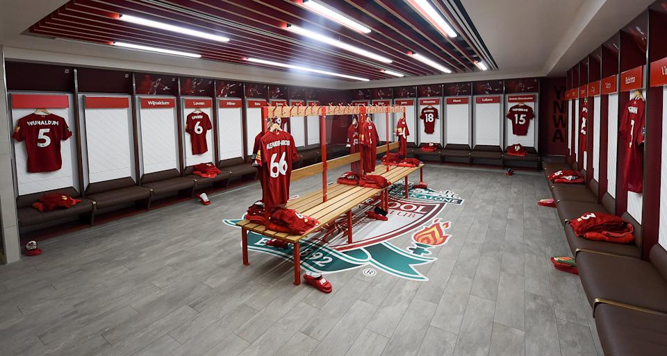 The Liverpool dressing room at Anfield before the home match against Chelsea FC. (PHOTO: John Powell/Liverpool FC via Getty Images)