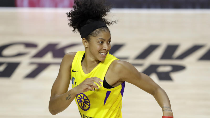 Los Angeles Sparks forward Candace Parker (3) during the second half of a WNBA basketball game against the New York Liberty Wednesday, Aug. 12, 2020, in Bradenton, Fla. (AP Photo/Chris O'Meara)
