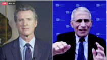 This frame from streaming video from the Office of the Governor shows California Gov. Gavin Newsom, left, and Dr. Anthony Fauci during a conversation, Wednesday, Dec. 30, 2020. Newsom has announced the first known case of the new and apparently more contagious variant of the coronavirus in the nation's most populated state. It follows the first reported U.S. case in Colorado. Newsom said he had just learned of the finding in a Southern California case Wednesday. He announced it during the online conversation with Fauci, the nation's leading infectious-disease expert. (Office of the Governor via AP)
