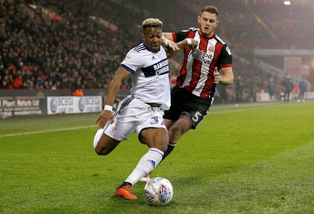 "Soccer Football - Championship - Sheffield United vs Middlesbrough - Bramall Lane, Sheffield, Britain - April 10, 2018 Middlesbrough's Adama Traore in action with Sheffield United's Jack O'Connell Action Images/Ed Sykes EDITORIAL USE ONLY. No use with unauthorized audio, video, data, fixture lists, club/league logos or ""live"" services. Online in-match use limited to 75 images, no video emulation. No use in betting, games or single club/league/player publications. Please contact your account representative for further details."