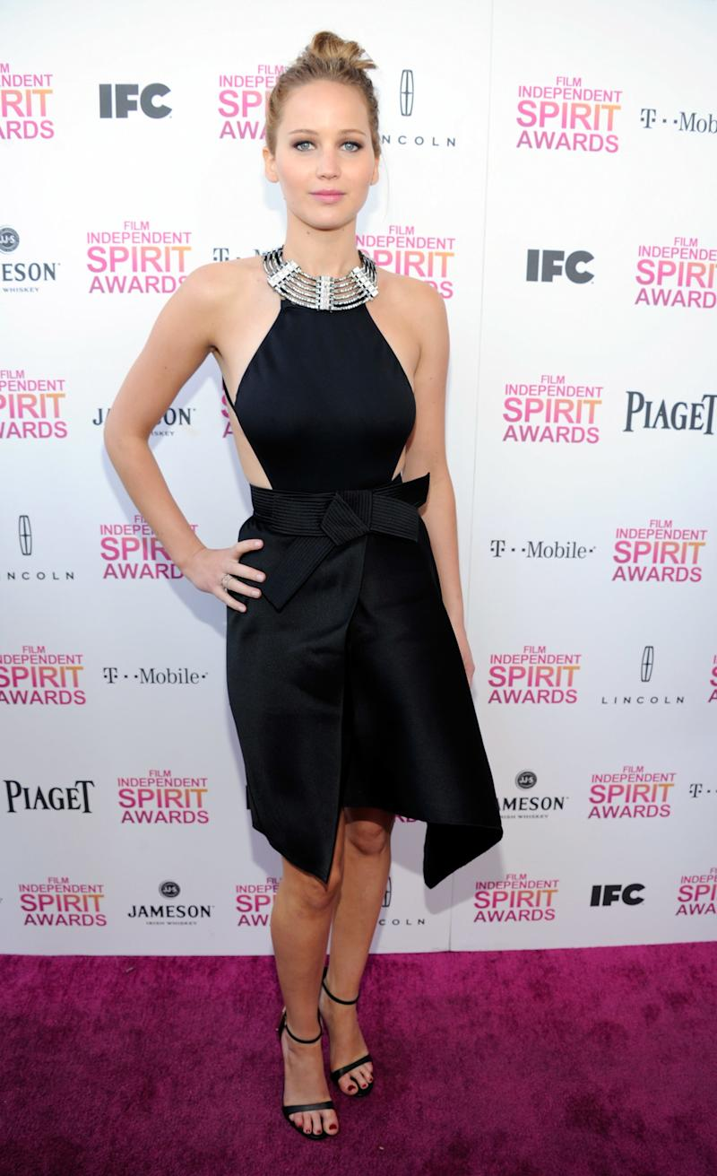The superstar's style took a sexy ans sophisticated turn when she opted for Lanvin's interpretation of the LBD with side cutouts and an embellished halter neckline at the 2013 Independent Spirit Awards in Santa Monica, California.