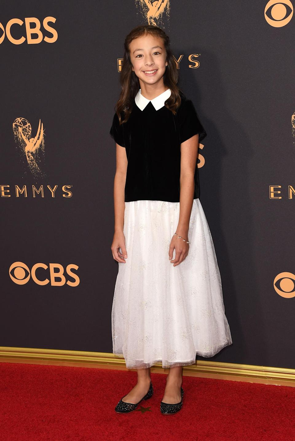 <p>Aubrey Anderson-Emmons attends the 69th Primetime Emmy Awards at the Microsoft Theater on Sept. 17, 2017, in Los Angeles. (Photo: Getty Images) </p>