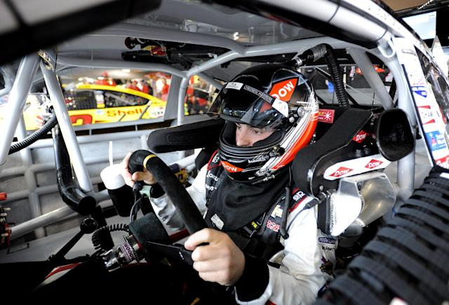 Sprint Cup driver Austin Dillon prepares to go on the track for the first round of practice for a NASCAR autop race at Martinsville Speedway in Martinsville, Va., Friday March 28, 2014. (AP Photo/Mike McCarn)