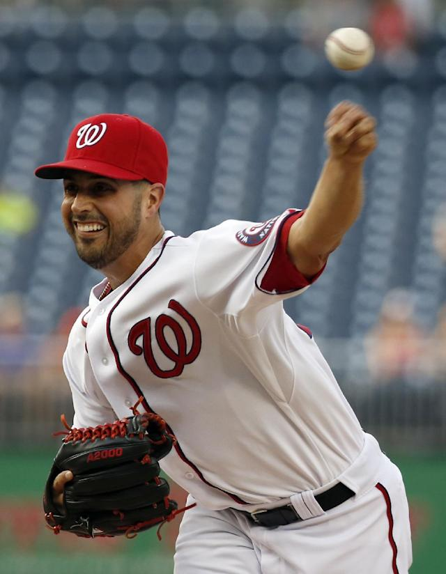 Washington Nationals starting pitcher Gio Gonzalez throws during the first inning of an interleague baseball game against the Houston Astros at Nationals Park Wednesday, June 18, 2014, in Washington. (AP Photo/Alex Brandon)