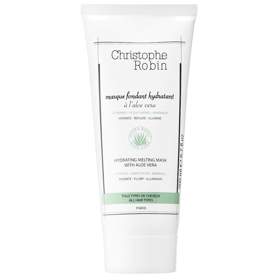 """<p><strong>Christophe Robin</strong></p><p>sephora.com</p><p><strong>$37.00</strong></p><p><a href=""""https://go.redirectingat.com?id=74968X1596630&url=https%3A%2F%2Fwww.sephora.com%2Fproduct%2Fhydrating-melting-mask-with-aloe-vera-P446865&sref=https%3A%2F%2Fwww.harpersbazaar.com%2Fbeauty%2Fhair%2Fg34076507%2Fspring-hair-trends-2021%2F"""" rel=""""nofollow noopener"""" target=""""_blank"""" data-ylk=""""slk:Shop Now"""" class=""""link rapid-noclick-resp"""">Shop Now</a></p>"""