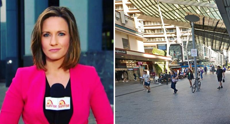 Sunrise journalist Bianca Stone (left) said she was walking through Brisbane's CBD (right is a Google Maps photo of the Queen Street Mall) early Monday when she was harassed.