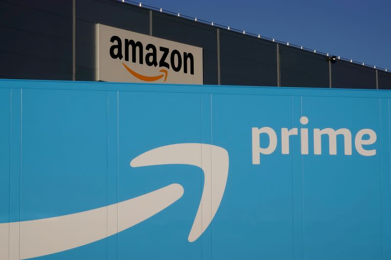 FILE PHOTO: The logo of Amazon Prime Delivery is seen on the trailer of a truck outside the company logistics center in Lauwin-Planque
