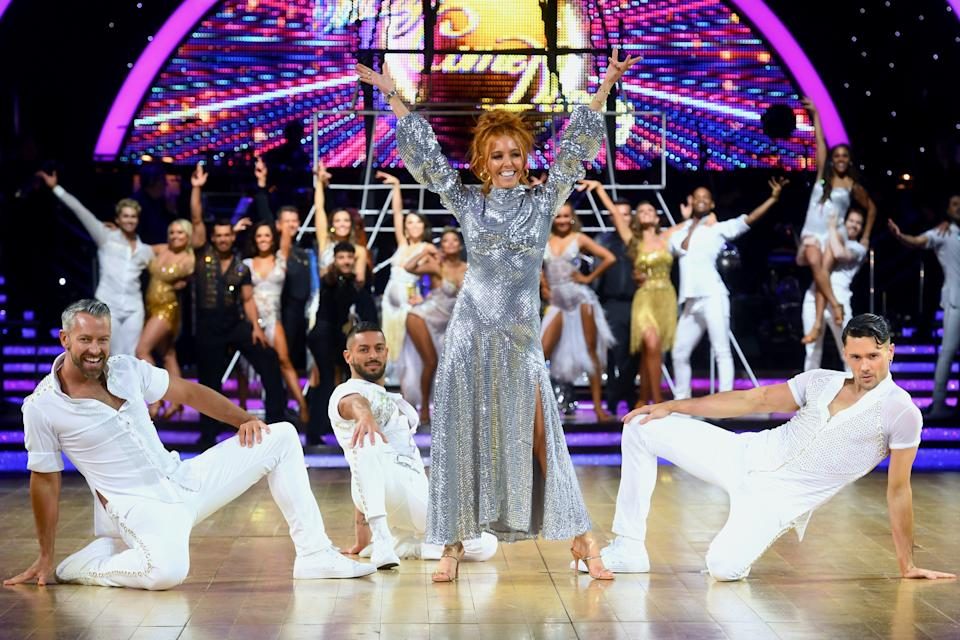 Joshua Keefe, Stacey Dooley and Jake Leigh during the Strictly Come Dancing Arena Tour 2020 at Arena Birmingham on January 15, 2020 in Birmingham, England. (Photo by Dave J Hogan/Getty Images)