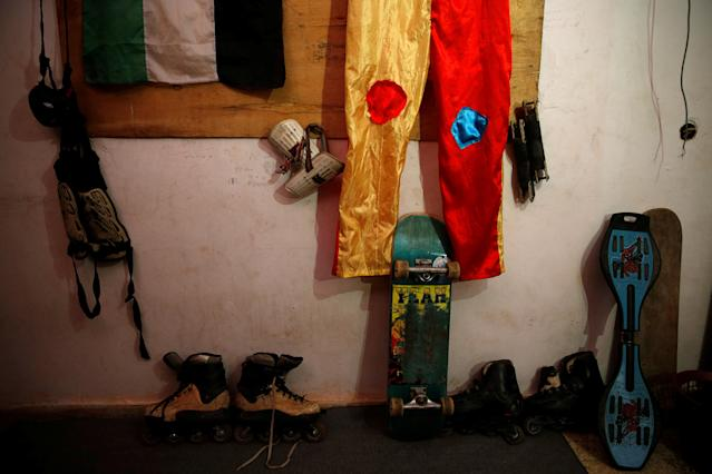 Skating tools used by Mustafa Sarhan, 19, a member of Gaza Skating Team, are seen inside his family house in Gaza City March 18, 2019. Picture taken March 18, 2019. REUTERS/Mohammed Salem