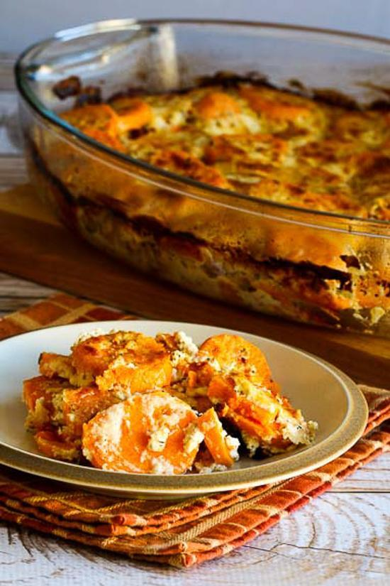 "<p>Step far outside the typical sweet potatoes treatment for Thanksgiving by making a gratin instead of a casserole. This recipe is perfect for guests who don't appreciate sweets in their dinner and like the tang of cheese instead, while keeping the texture around the vegetable warm and creamy. <br><br><a href="" http://www.kalynskitchen.com/2014/11/sweet-potato-gratin-goat-cheese.html"" rel=""nofollow noopener"" target=""_blank"" data-ylk=""slk:Get the recipe"" class=""link rapid-noclick-resp"">Get the recipe</a> </p>"