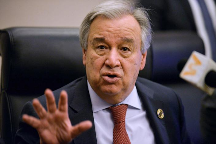 United Nations Secretary-General Antonio Guterres speaks during a press conference in Addis Ababa on Feb. 8, 2020. (MICHAEL TEWELDE / AFP - Getty Images)