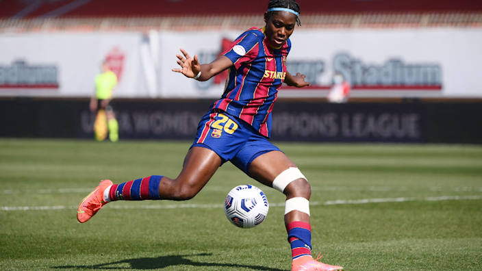 Barcelona's Nigerian forward Asisat Oshoala with the ball during the Uefa Women's Champions League quarter-final football match between Barcelona and Manchester City at Brianteo Stadium in Monza, Italy - Wednesday 24 March 2021