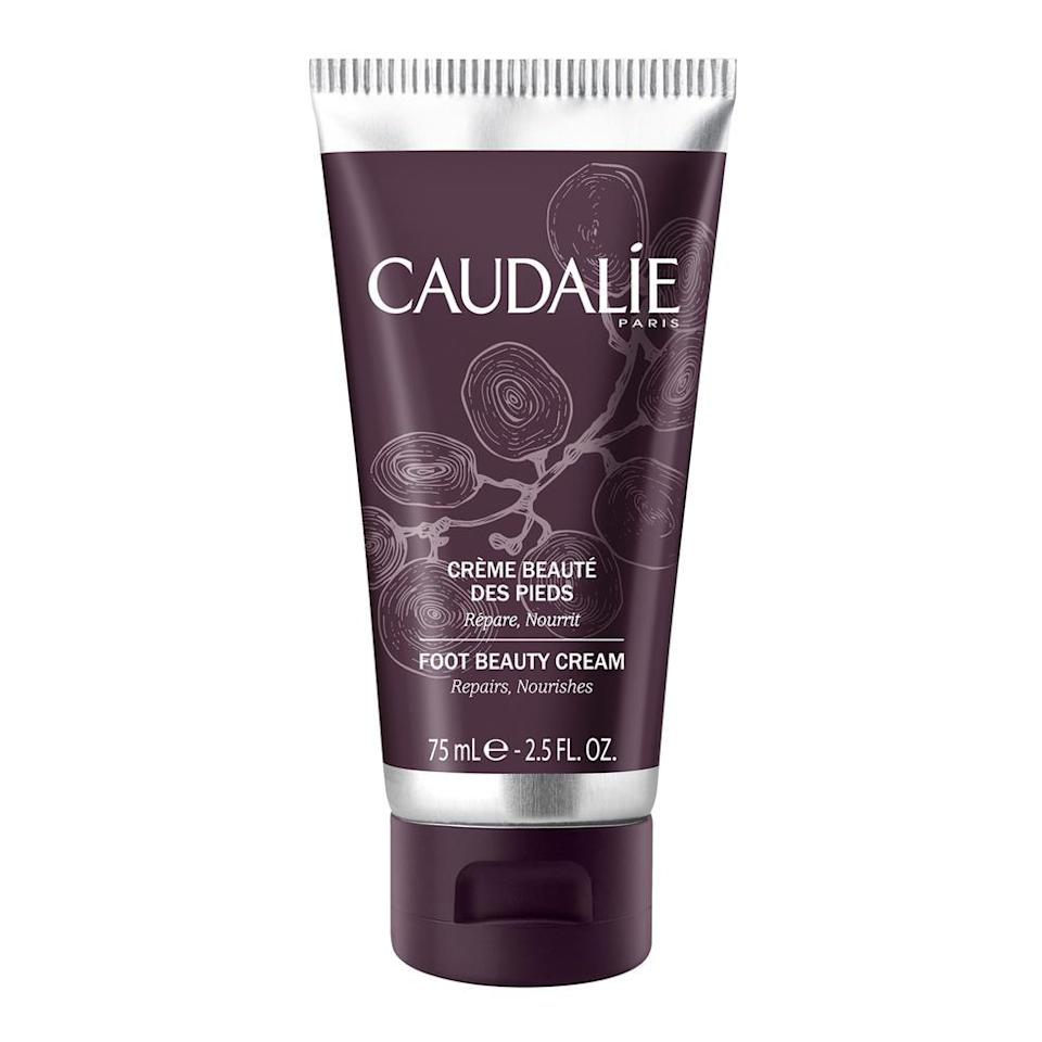 """<h3><strong>Caudalie</strong> Foot Beauty Cream</h3> <br>If you're looking for a chic solution to an un-chic problem, this French foot cream is 100% the move. Rub this grapeseed lotion onto your heels, and voilà: Instantly softened heels and toes.<br><br><strong>Caudalie</strong> Foot Beauty Cream, $, available at <a href=""""https://go.skimresources.com/?id=30283X879131&url=https%3A%2F%2Fbluemercury.com%2Fproducts%2Fcaudalie-foot-beauty-cream%3Fvariant%3D26178611206"""" rel=""""nofollow noopener"""" target=""""_blank"""" data-ylk=""""slk:Bluemercury"""" class=""""link rapid-noclick-resp"""">Bluemercury</a><br>"""