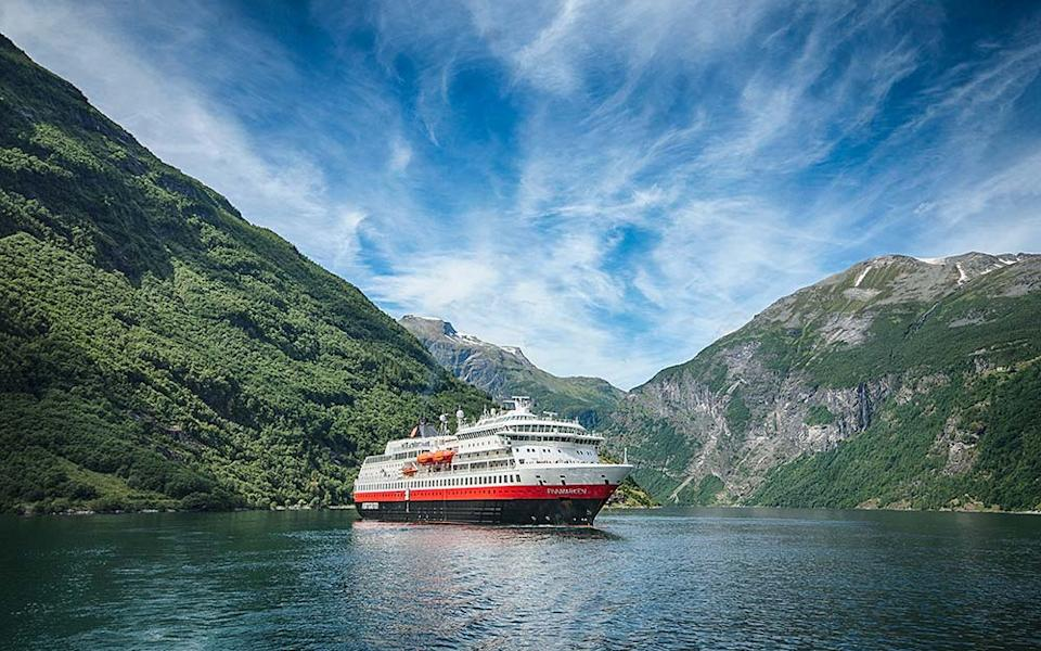Hurtigruten's Finnmarken, which set sail in the middle of June after the global pause