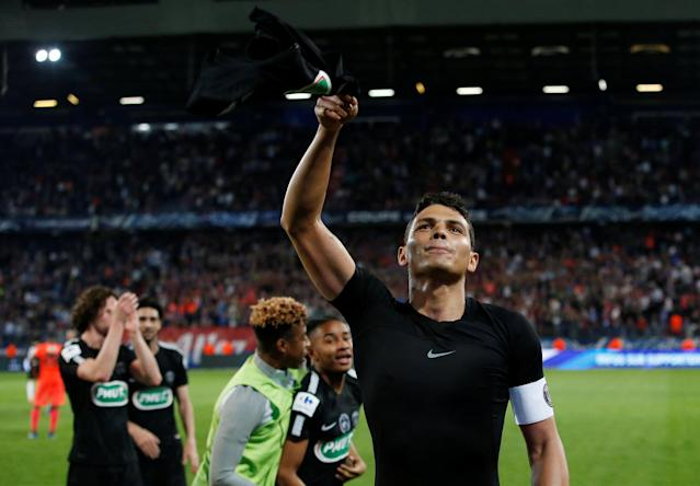 Soccer Football - Coupe de France - Semi-Final - Caen vs Paris St Germain - Stade Michel d'Ornano, Caen, France - April 18, 2018 Paris Saint-Germain's Thiago Silva celebrates after the match REUTERS/Stephane Mahe