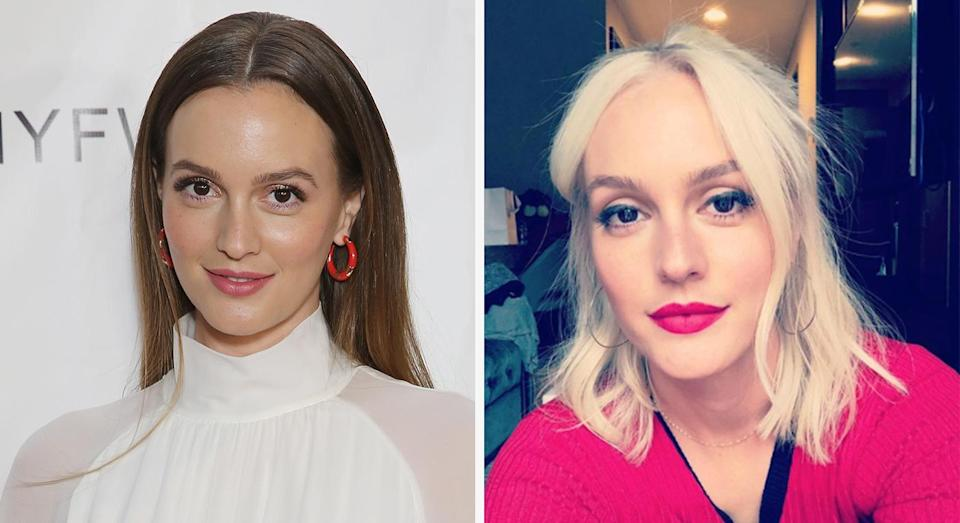 <p>When: 3 April <br>The actress, made famous for her iconic role as Blair Waldorf in 'Gossip Girl', debuted a platinum blonde lob on Instagram. <em>[Photo: Getty/Instagram]</em> </p>