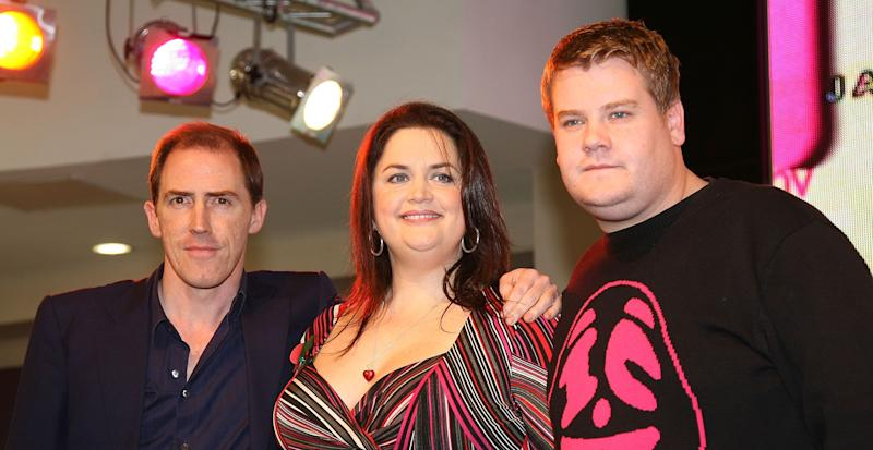 LONDON - NOVEMBER 10: Rob Brydon, Ruth Jones and James Cordon celebrate the release of `Gavin and Stacey Series 2' at HMV on November 10, 2008 in London, England. (Photo by Ferdaus Shamim/WireImage)