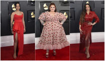 This combination of photos shows fashion worn by Ella Mai, from left, Tess Holliday and Rosalia at the 62nd annual Grammy Awards at the Staples Center on Sunday, Jan. 26, 2020, in Los Angeles. (Photos by Jordan Strauss/Invision/AP)