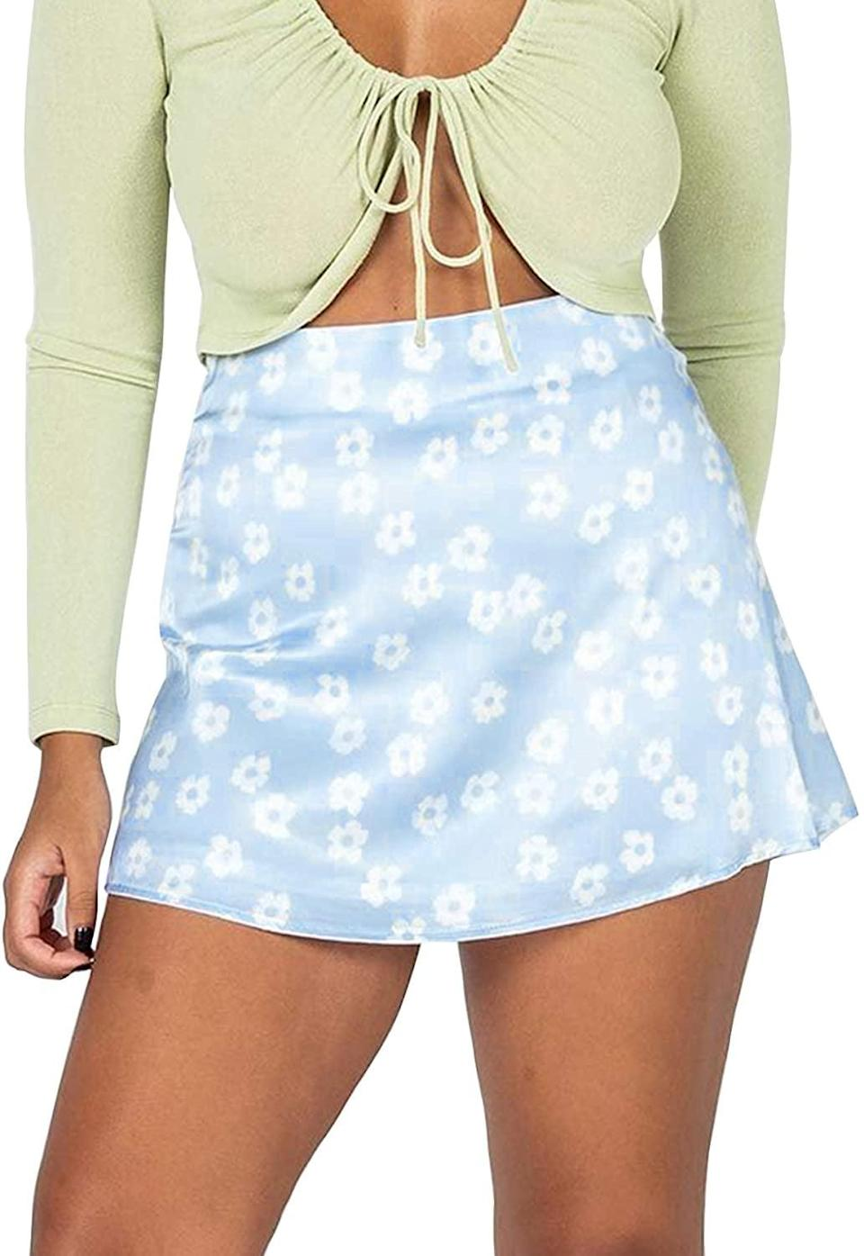 <p>Style this <span>Lyaner Floral Print Satin Silk Mini Short Skirt</span> ($13-$19) with a lime-green crop top for a stunning summer look.</p>