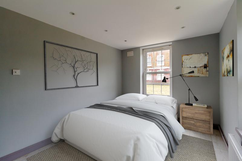 One of the bedrooms in the two-bedroom flatCourtesy of Raffle House