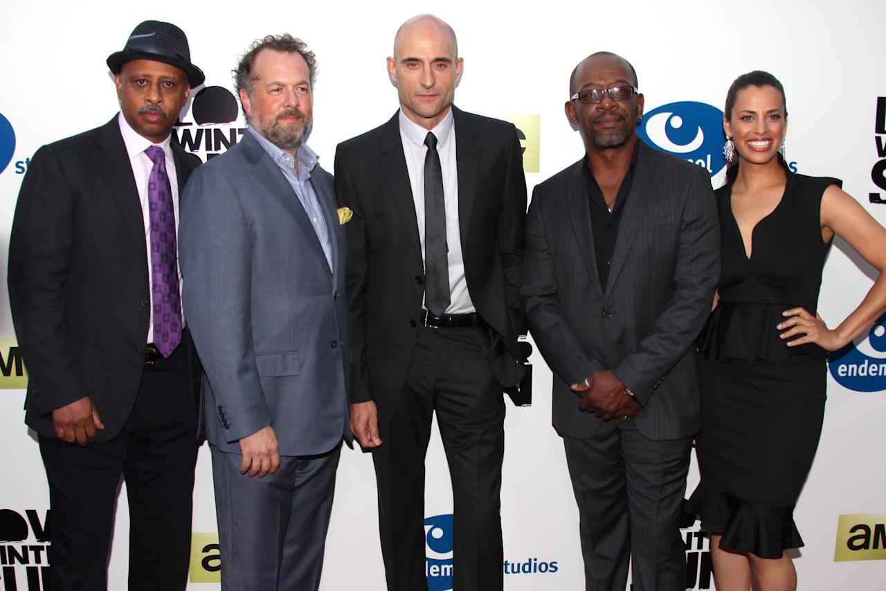 "Ruben Santiago-Hudson, David Costabile, Mark Strong, Lennie James, and Athena Karkanis attend the premiere of AMC's new series ""Low Winter Sun"" at ArcLight Hollywood on July 25, 2013 in Hollywood, California."