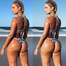 <p>Aussie bikini designer Karina shared a pre and post-Photoshop bikini snap, asking fans to spot the 'eight edits I've made to this photo'. Think making her hair bigger, shaping her jaw, using a VSCO filter, thinning her waist, smoothing her skin and re-sculpturing her booty. Photo: Karina Irby </p>