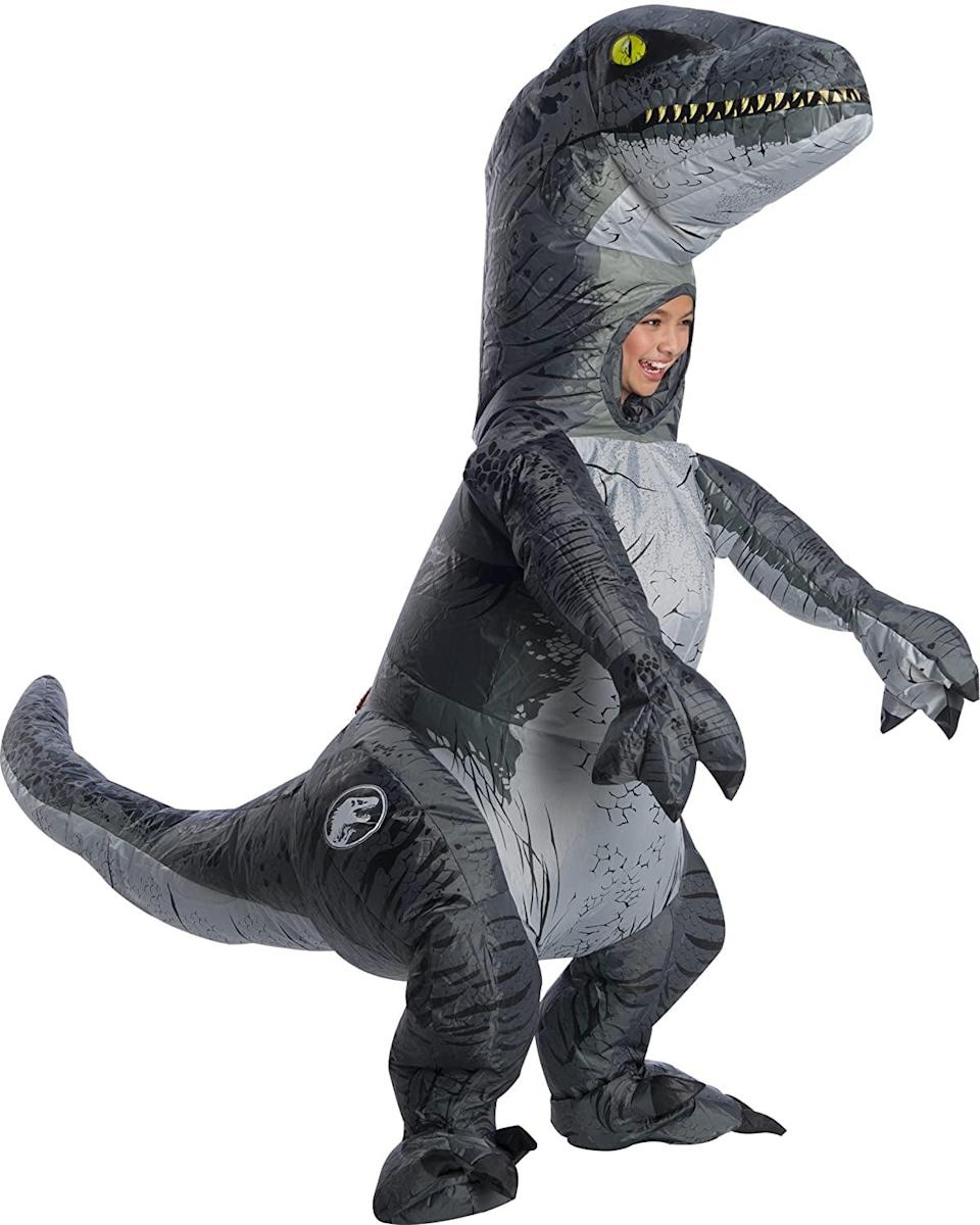 <p>Dinosaur-lovers will adore dressing up in the <span>Jurassic World Velociraptor Blue Inflatable Halloween Costume</span> ($45). Now, let's hear 'em roar.</p>