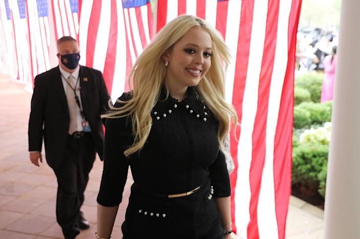 Tiffany Trump, daughter of President Donald Trump, arrives for a ceremony where her father will Judge Amy Coney Barrett as his nominee to the Supreme Court in the Rose Garden at the White House (Getty Images)