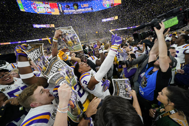 LSU celebrates after their win against Clemson in a NCAA College Football Playoff national championship game Monday, Jan. 13, 2020, in New Orleans. (AP Photo/David J. Phillip)