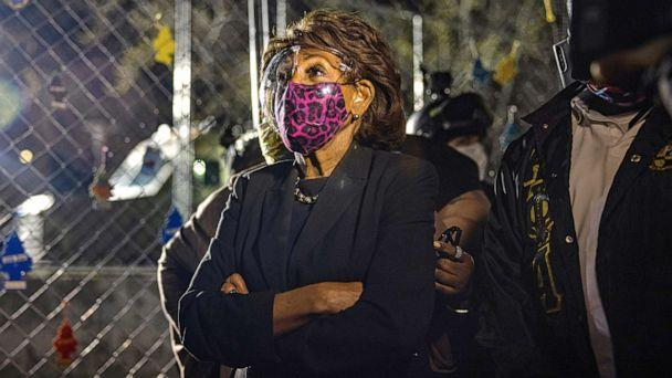 PHOTO: Maxine Waters visits protestors at the Brooklyn Center Police Department in Brooklyn Center, Minn. on April 17, 2021, on the sixth day of protesting following the fatal police shooting of Daunte Wright.   (Alex Kent/Shutterstock)