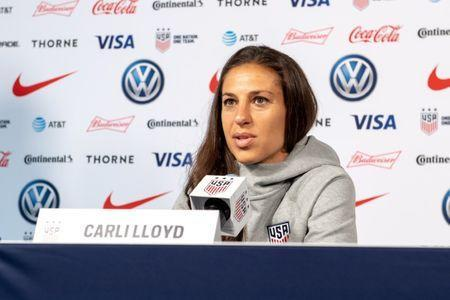 May 24, 2019; New York, NY, USA; Carli Lloyd takes questions during the U.S. Women's National Team World Cup media day at Twitter NYC. Mandatory Credit: Dennis Schneidler-USA TODAY Sports