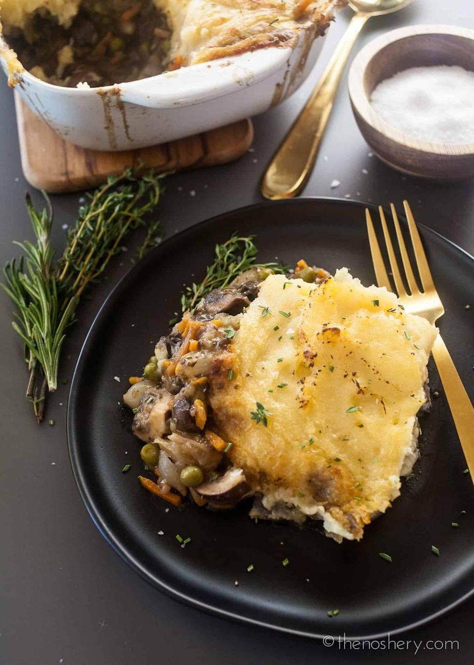 """<p>For an alternative take on the classic dish, swap the beef out for mushrooms.</p><p><strong>Get the recipe at <a href=""""https://thenoshery.com/mushroom-shepherds-pie/"""" rel=""""nofollow noopener"""" target=""""_blank"""" data-ylk=""""slk:The Noshery"""" class=""""link rapid-noclick-resp"""">The Noshery</a>.</strong> </p>"""