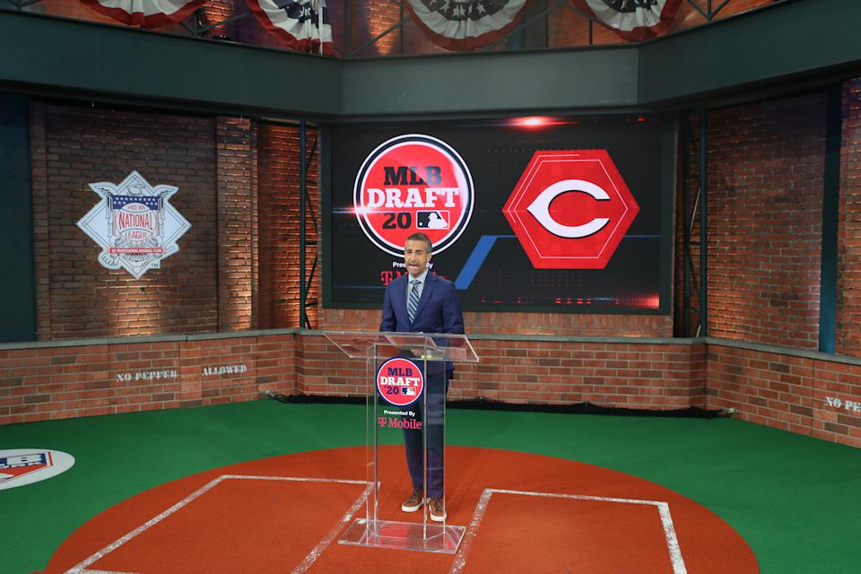 Matt Vasgersian announces the Cincinnati Reds select Christian Roa as the 48th pick during the 2020 Major League Baseball Draft.