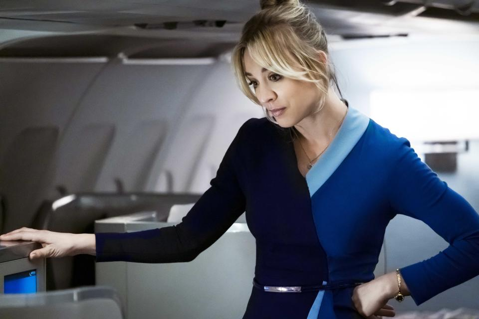 Kaley Cuoco plays Cassie Bowden on The Flight Attendant