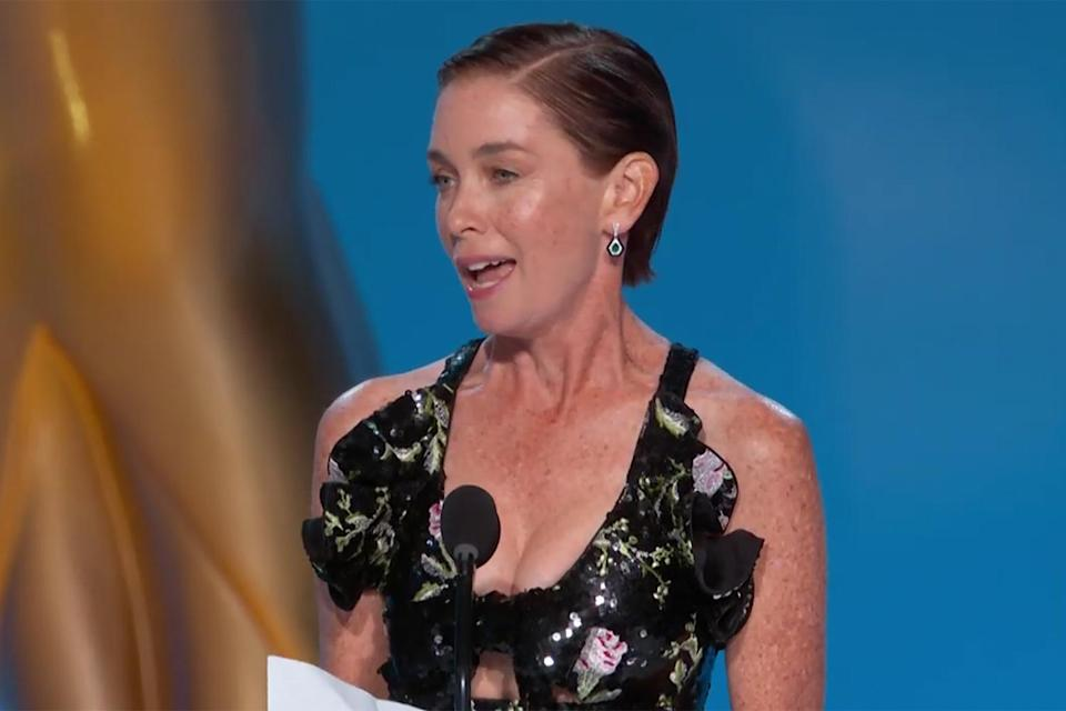 """<p><a href=""""https://people.com/tv/2021-emmy-awards-julianne-nicholson-wins-supporting-actress-limited-series-movie/"""" rel=""""nofollow noopener"""" target=""""_blank"""" data-ylk=""""slk:won her first Emmy Award"""" class=""""link rapid-noclick-resp"""">won her first Emmy Award</a> for her role as Lori Ross in <em>Mare of Easttown, </em>going home with the trophy for outstanding supporting actress in a limited or anthology series or movie. She, too, thanked Kate Winslet, saying, in part, """"I owe this to you."""" </p>"""
