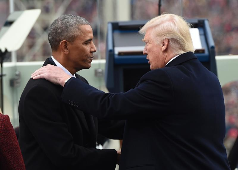 "And any remaining doubts about the hostility between the 44th and 45th presidents were laid to rest by Donald Trump's wiretap allegations -- which Barack Obama rejected via a spokesman as ""simply false"" (AFP Photo/SAUL LOEB)"