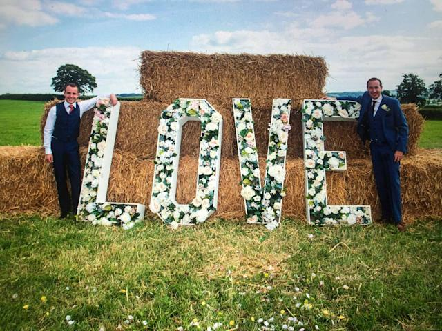 Ashley Jenkins, left, and Callum Hodge had their wedding reception at Mr Hodge's family's barn conversion (Picture: SWNS)