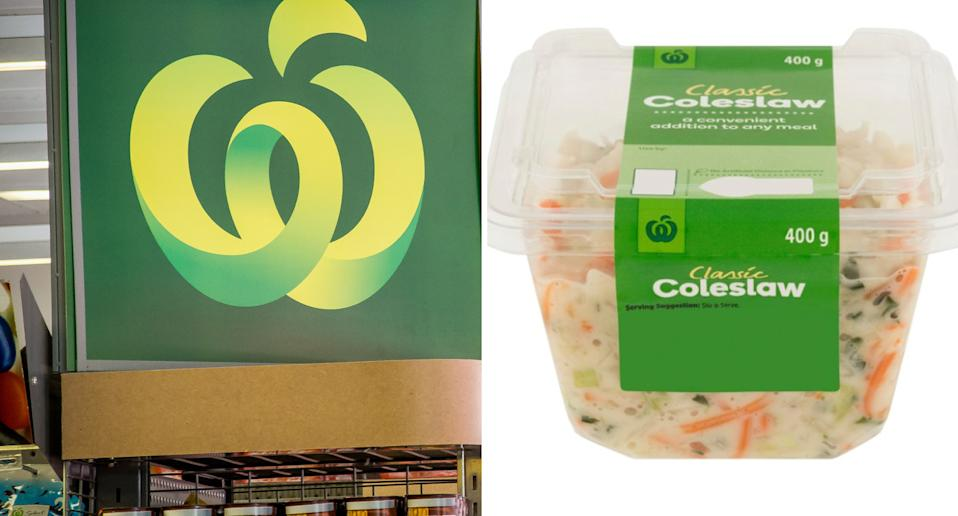 Woolworths sign next to a 400g coleslaw container.