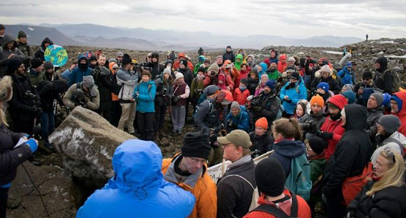 Huge group shown gathered as monument unveiled in Iceland after its first glacier melted away.