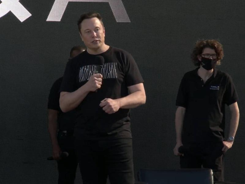 Elon Musk unveiled Tesla's battery breakthrough at an event in California on Tuesday, 22 September, 2020 (Tesla)
