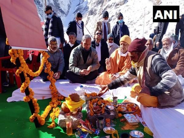 Uttar Pradesh Chief Minister Yogi Adityanath on Tuesday laid the foundation stone of a guest house in Badrinath.