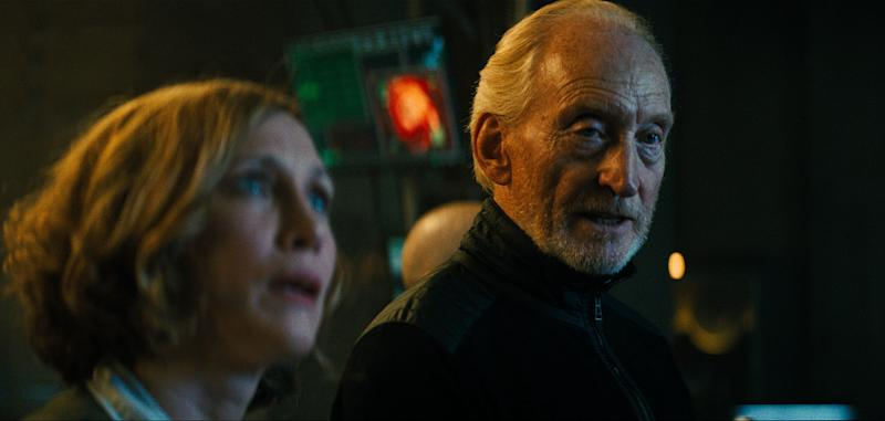 "L-R) VERA FARMIGA as Dr. Emma Russell and CHARLES DANCE as Alan Jonah in Warner Bros. Pictures' and Legendary Pictures' action adventure ""GODZILLA: KING OF THE MONSTERS,"" a Warner Bros. Pictures release."