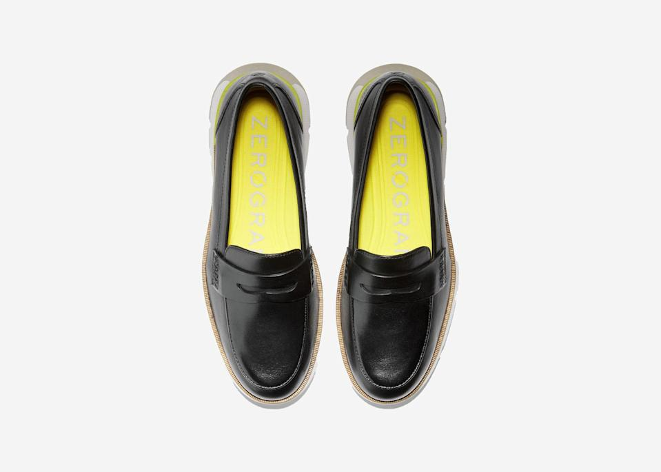 "Cole Haan loafers are a go-to shoe for city life—and for exploring urban stomping grounds around the globe. The classic look of the 4.ZERØGRAND can be paired with jeans or a dress, and the responsive cushioning, made with three layers of foam, provides all the support of an athletic shoe. Wear these to bounce from subways and museums to cafés and bars. (If you're lucky, you may find your size on sale in the previous <a href=""https://fave.co/3jBU9yz"" rel=""nofollow noopener"" target=""_blank"" data-ylk=""slk:Pinch Weekender Loafer"" class=""link rapid-noclick-resp"">Pinch Weekender Loafer</a> style.) $170, Cole Haan. <a href=""https://www.colehaan.com/4.zerogrand-loafer-black-sulphur-spring/W21339.html"" rel=""nofollow noopener"" target=""_blank"" data-ylk=""slk:Get it now!"" class=""link rapid-noclick-resp"">Get it now!</a>"